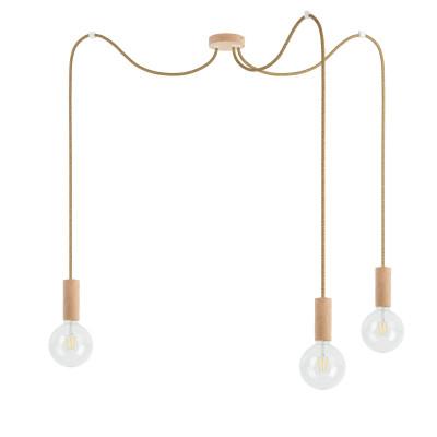 Potrójna drewniana lampa wisząca Loft Multi Eco Line X3 TYP B KOLOROWE KABLE