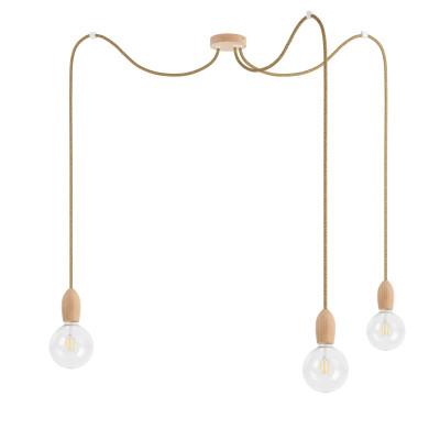 Potrójna drewniana lampa wisząca Loft Multi Eco Line X3 TYP A KOLOROWE KABLE