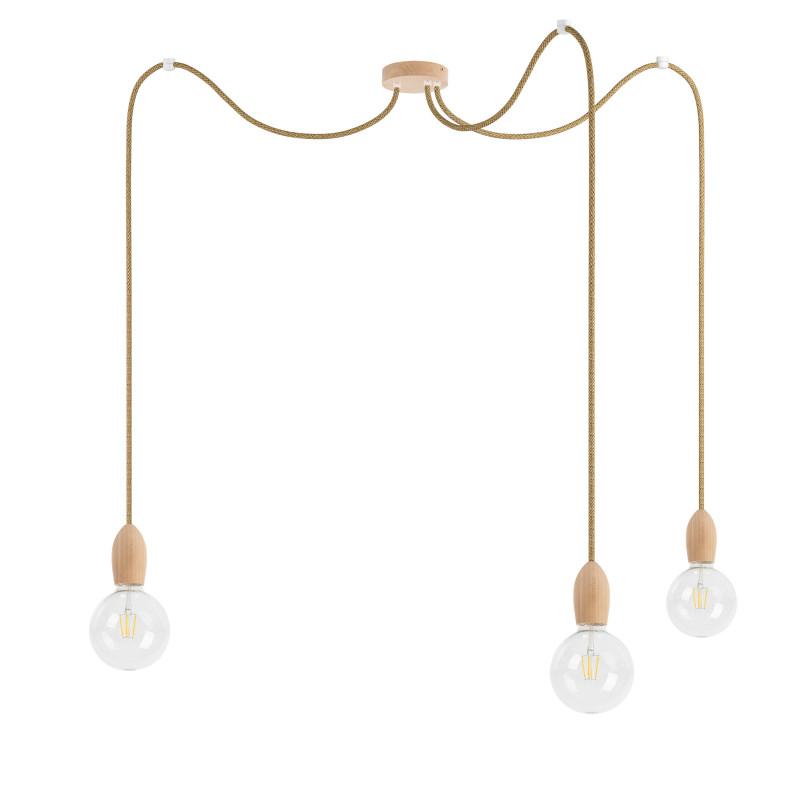 Triple wooden pendant lamp Loft Multi Eco Line X3 TYPE A
