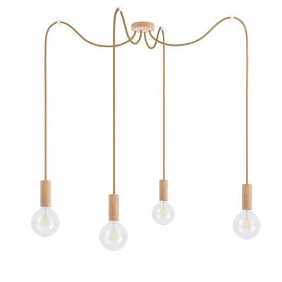 Potrójna drewniana lampa wisząca Loft Multi Eco Line X4 TYP B KOLOROWE KABLE