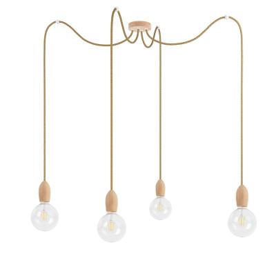 Poczwórna drewniana lampa wisząca Loft Multi Eco Line X4 TYP A KOLOROWE KABLE