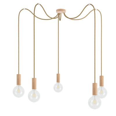 Drewniana lampa wisząca Loft Multi Eco Line X5 TYP B KOLOROWE KABLE