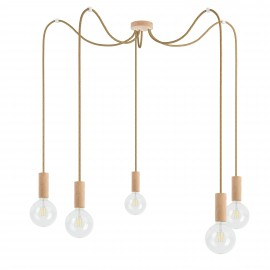 Wooden pendant lamp Loft Multi Eco Line X5 TYPE B