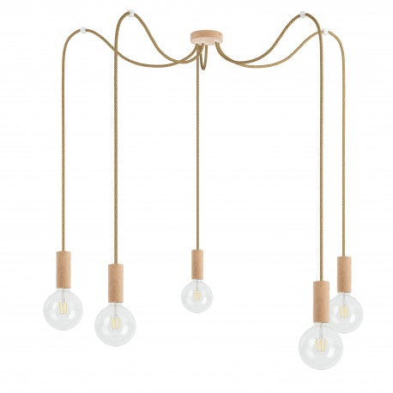 Wooden pendant lamp Loft Multi Eco Line X5 TYPE B