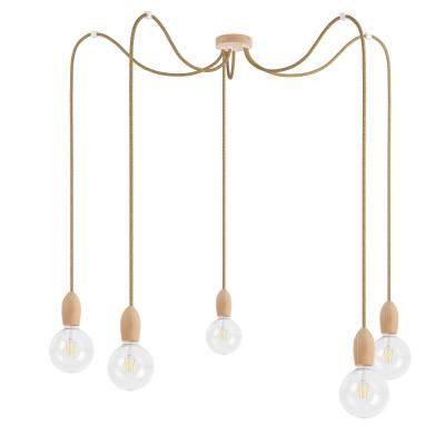 Drewniana lampa wisząca Loft Multi Eco Line X5 TYP A KOLOROWE KABLE