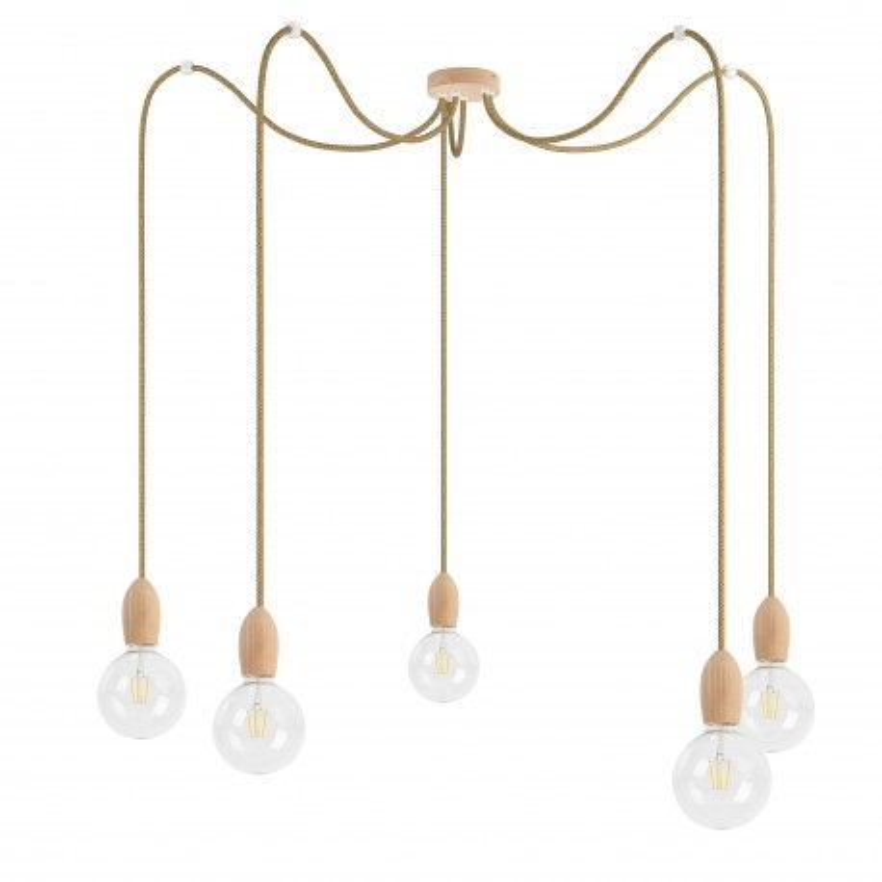 Wooden pendant lamp Loft Multi Eco Line X5 TYPE A
