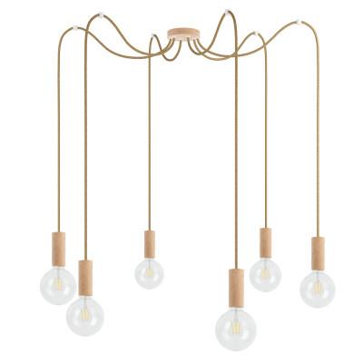 Drewniana lampa wisząca Loft Multi Eco Line X6 TYP B KOLOROWE KABLE