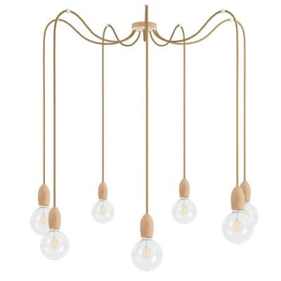 Drewniana lampa wisząca Loft Multi Eco Line X7 TYP A KOLOROWE KABLE