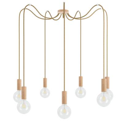 Drewniana lampa wisząca Loft Multi Eco Line X7 TYP B KOLOROWE KABLE