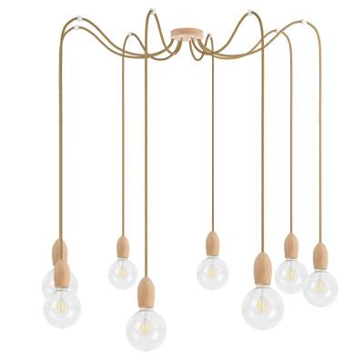 Drewniana lampa wisząca Loft Multi Eco Line X8 TYP A KOLOROWE KABLE