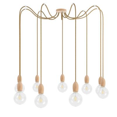 Drewniana lampa wisząca Loft Multi Eco Line X9 TYP A KOLOROWE KABLE