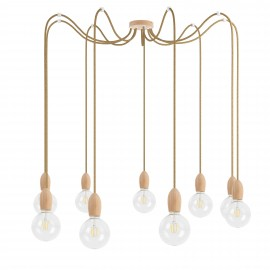 Wooden pendant lamp Loft Multi Eco Line X9 TYPE A