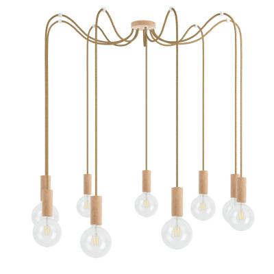 Drewniana lampa wisząca Loft Multi Eco Line X9 TYP B KOLOROWE KABLE