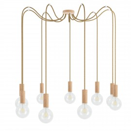Wooden pendant lamp Loft Multi Eco Line X9 TYPE B