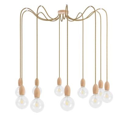 Drewniana lampa wisząca Loft Multi Eco Line X10 TYP A KOLOROWE KABLE