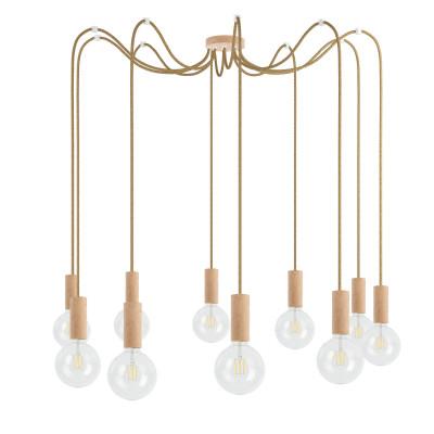 Drewniana lampa wisząca Loft Multi Eco Line X10 TYP B KOLOROWE KABLE