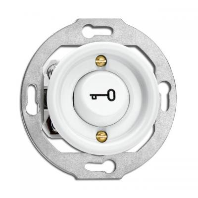"""Rustykalny porcelanowy podtynkowy przycisk chwilowy """"klucz"""" w stylu retro - biały  bez ramki 173079 THPG"""