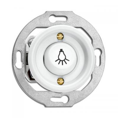 """Rustykalny porcelanowy podtynkowy przycisk chwilowy """"światło"""" w stylu retro - biały  bez ramki 173077 THPG"""