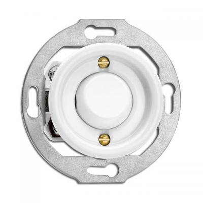 Rustykalny porcelanowy podtynkowy przycisk chwilowy w stylu retro - biały bez ramki 173076 THPG