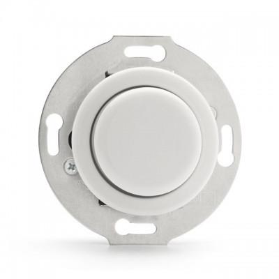 Rustykalny porcelanowy podtynkowy ściemniacz obrotowy LED 3W-130W w stylu retro - biały bez ramki 100407 THPG