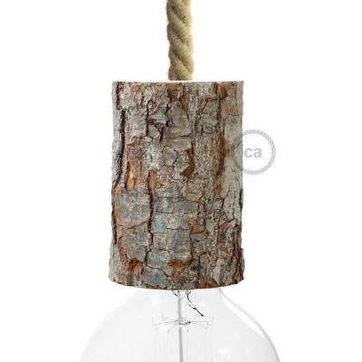 Mała drewniana oprawka żarówki E27 - drewno z korą Creative Cables