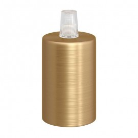 Dark gold metal bulb holder with E27 thread with a plastic cable clamp - brushed brass Creative-Cables