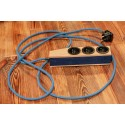 Electric extension cord, power strip LONG JOHN 3 The Third navy blue, solid wood Zetpety