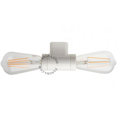 Ceiling / wall lamp white porcelain light.016.003.w, 2x E27 Zangra