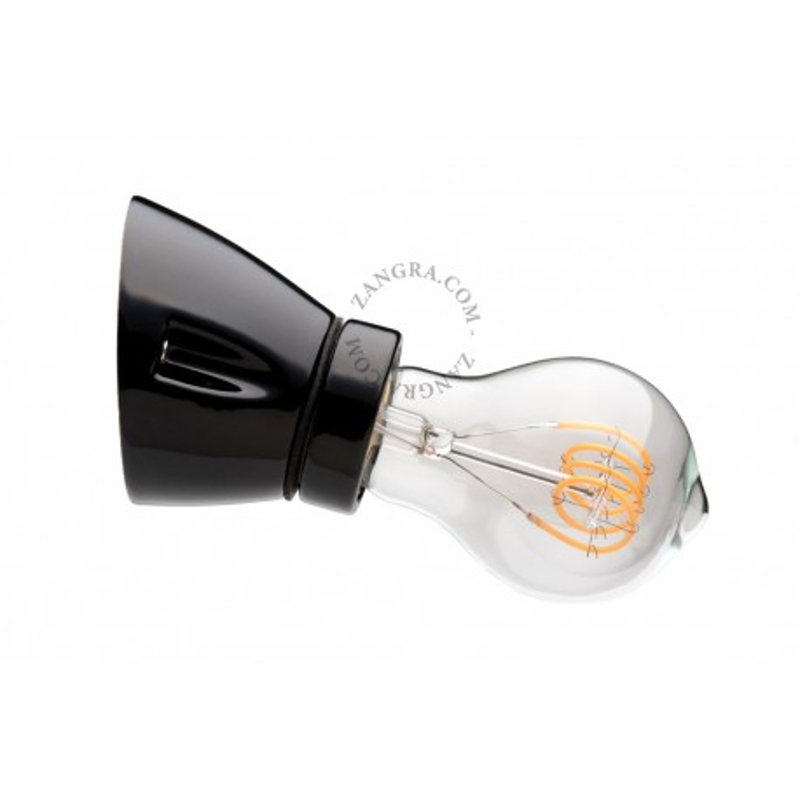 Wall lamp black porcelain light.020.wa.b, E27 Zangra