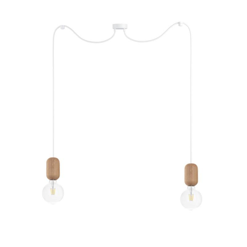 Wooden ceiling lamp Loft Barille 2 E27 pendant lamp spider KOLOROWE KABLE