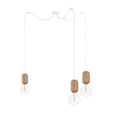 Drewniana lampa sufitowa Loft Barille 3 E27 lampa wisząca typu pająk KOLOROWE KABLE