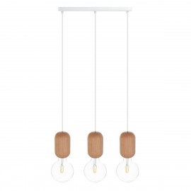 Wooden ceiling lamp Loft Barille 3L E27 hanging lamp on a strip KOLOROWE KABLE