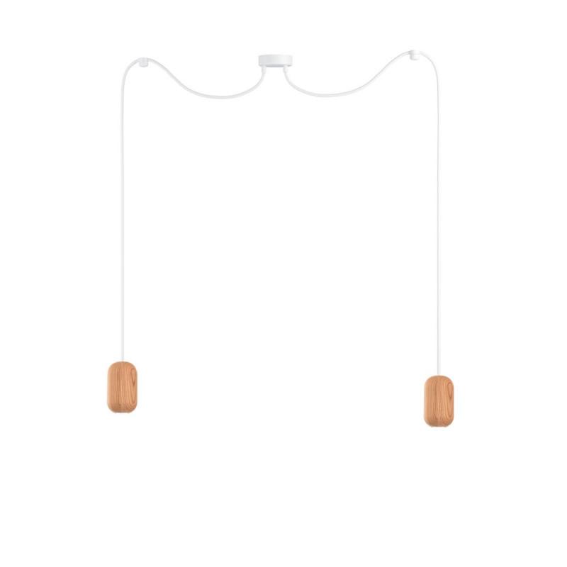 Wooden ceiling lamp Loft Barille 2 GU10 pendant lamp spider KOLOROWE KABLE