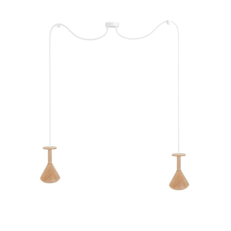 Wooden ceiling lamp Loft Cono 2 GU10 pendant lamp spider KOLOROWE KABLE