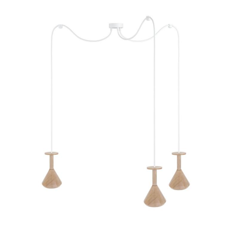 Wooden ceiling lamp Loft Cono 3 GU10 pendant lamp spider KOLOROWE KABLE