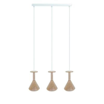 Drewniana lampa sufitowa Loft Cono 3L GU10 lampa wisząca na listwie KOLOROWE KABLE