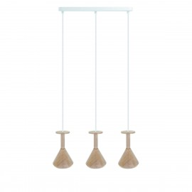 Wooden ceiling lamp Loft Cono 3L GU10 hanging lamp on a strip KOLOROWE KABLE