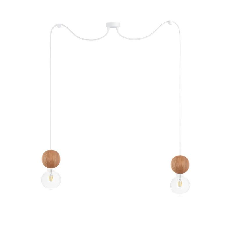 Wooden ceiling lamp Loft Sferni 2 E27 pendant lamp spider KOLOROWE KABLE