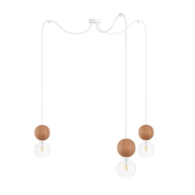 Wooden ceiling lamp Loft Sferni 3 E27 pendant lamp spider KOLOROWE KABLE