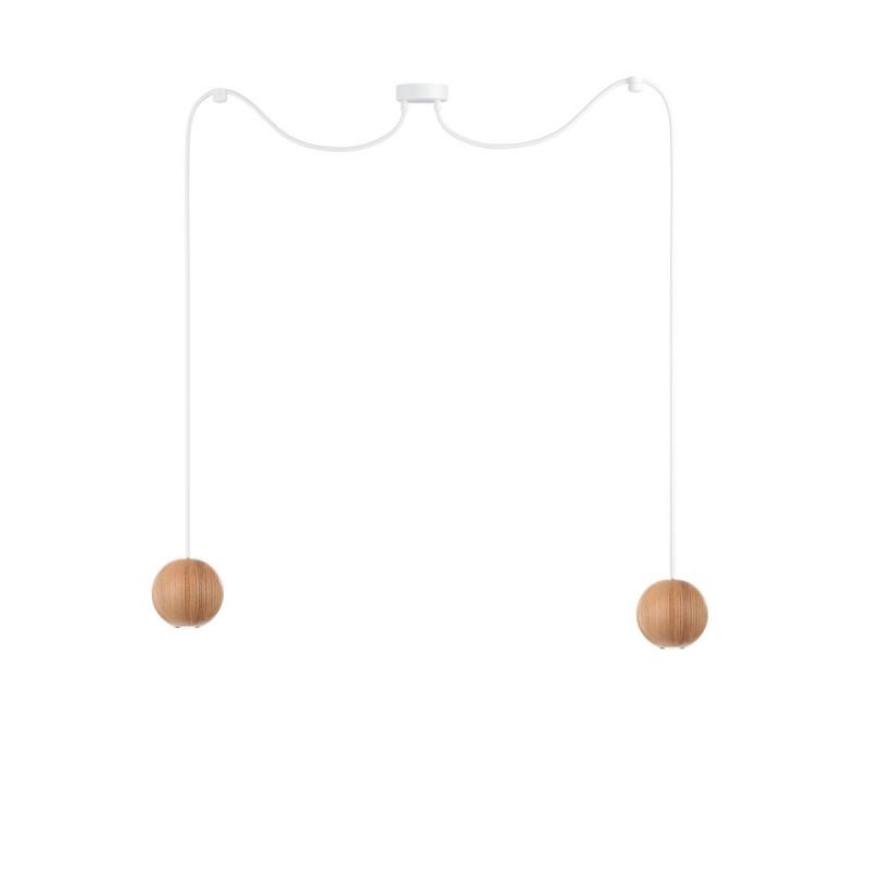 Wooden ceiling lamp Loft Sferni 2 GU10 pendant lamp spider KOLOROWE KABLE