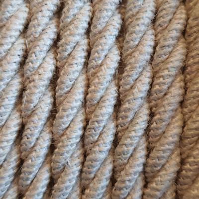 Jasnobeżowy kabel skręcany w oplocie jutowym bielonym J04 trzyżyłowy 3x1x1,5mm2 Kolorowe Kable
