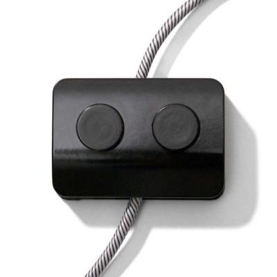 Podwójny jednobiegunowy włącznik światła nożny z zaciskami śrubowymi - czarny projekt Achille Castiglioni Creative-Cables