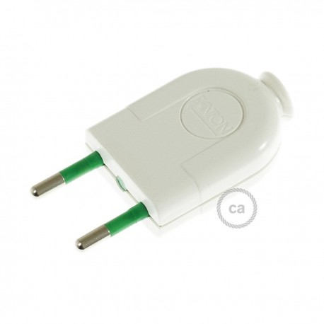 Two-Pole White Plug 10A (small) – IMQ – Made in Italy Creative-Cables