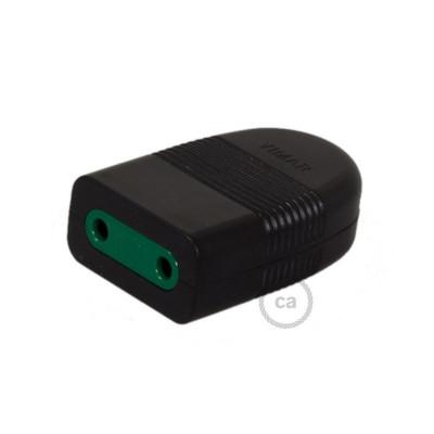 Dwubiegunowe gniazdo 10A P10, osiowe, nieuziemione - czarny kolor Creative-Cables