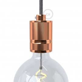 Copper metal bulb holder with E27 thread with milling for mounting a lampshade Creative-Cables
