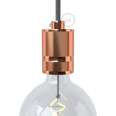 Miedziana oprawka żarówki gwint E27 z frezowaniem umożliwiającym mocowanie abażuru Creative-Cables