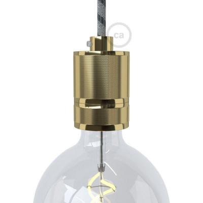 Frezowana oprawka żarówki gwint E27 z możliwością mocowania abażuru - mosiądz Creative-Cables