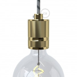 Milled bulb holder E27 thread with the possibility of attaching a lampshade - brass Creative-Cables