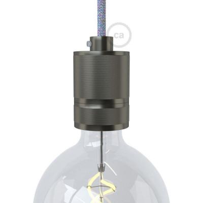 Frezowana oprawka żarówki gwint E27 z możliwością mocowania abażuru - Gunmetal Creative-Cables