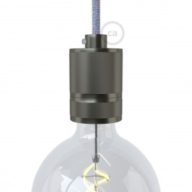 Milled bulb holder E27 thread with the possibility of attaching a lampshade - Gunmetal Creative-Cables